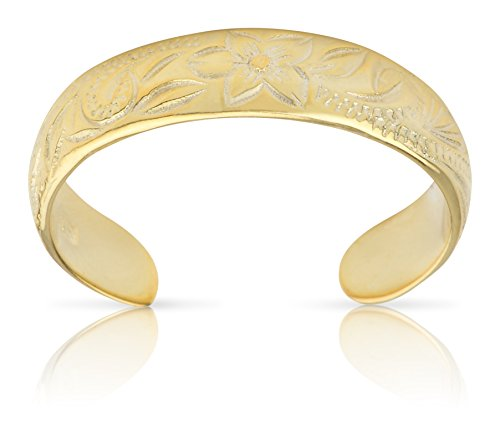 Hawaiian Jewerly Sterling Silver 14k Gold Finish Flower Toe (14k Silver Toe Ring)