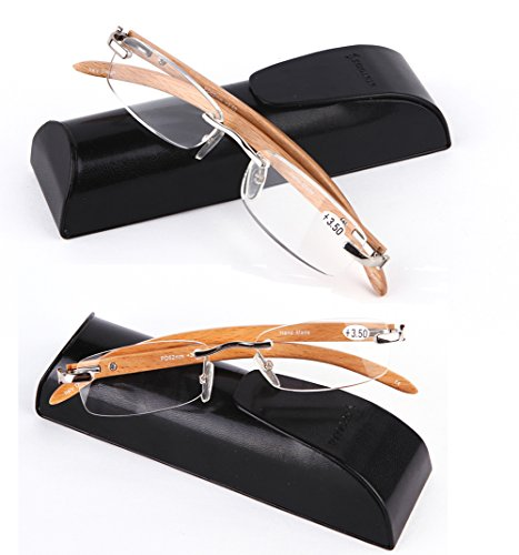 SOOLALA New Wood Bamboo Rimless Frame Magnifying Reading Glasses w/Metal Rivets (2 Pairs Silver Value Pack, - Frames New Online