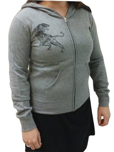 New Asics Onisuka Tiger Women's Hoody Front Zip Tiger Print Heather Grey Small