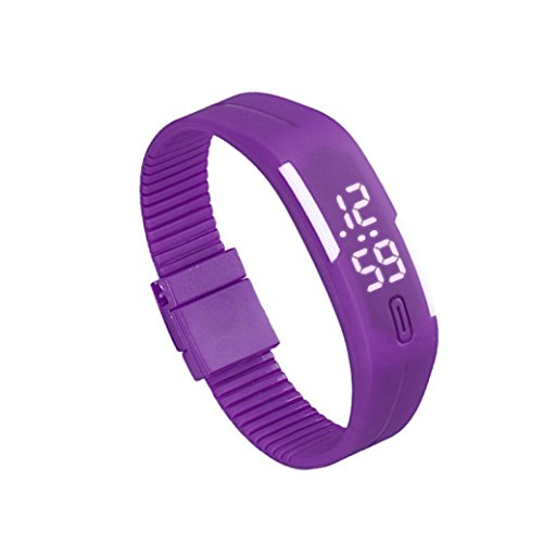 Bolayu Mens Womens Rubber LED Sports Waterproof Watch Bracelet Digital Wrist Watch Purple