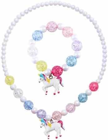 Skywisewin Little Girls Jewelry Glitter Heart Necklace for Kids