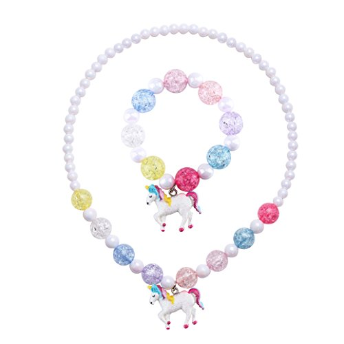- SkyWiseWin Chunky Jewelry Unicorn Necklace and Bracelet Set for Girls Little Kids