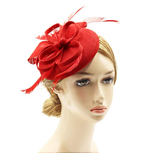(Wheebo Fascinator Hat Flower Feather Mesh Veil Wedding Tea Party Derby Cocktail Hat Headwear for Women Lady Girls (E-Red))