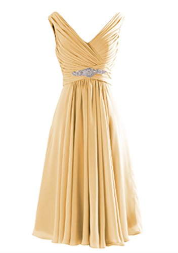 Buy gold tea length mother of the bride dress - 3