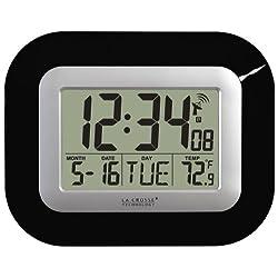 La Crosse Technology, Black WT-8005U-B Atomic Digital Wall Clock with Indoor Temperature