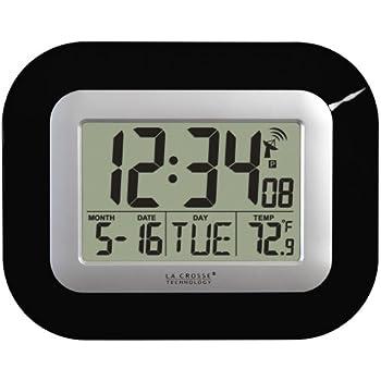 La Crosse Technology WT-8005U-B Atomic Digital Wall Clock with Indoor Temperature, Black