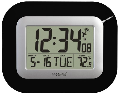 La Crosse Technology WT-8005U-B Atomic Digital Wall Clock with Indoor Temperature, Black