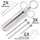 Meat Injector Kit, 304 Stainless Steel Marinade Meat Injector Syringe (2-oz capacity barrel) with 3 Professional Needles,2 Cleaning Brushes and 4 Silicone O-rings.