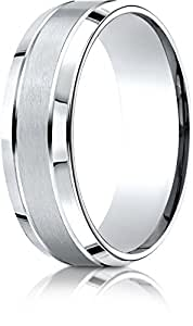 Benchmark 14k White Gold 7mm Comfort-Fit Satin-Finished High Polished Beveled Edge Carved Des. Band, 15.25