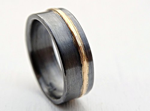 (mens wedding band gold silver wedding ring black silver, gold silver ring two tone, mixed metal ring viking wedding band, artisan gold ring)
