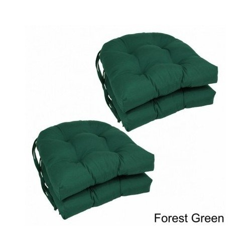(Modern 16-inch U-shaped Twill Dining Chair Cushions (Set of 4) Includes Scented Candle Tart (forest green) )