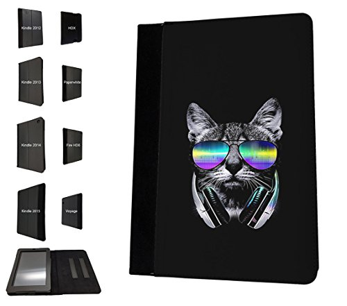002746 - Cat Feline Sunglasses Music Dj Headphones Design Amazon Kindle Paperwhite 6'' 2014/2016 Flip Case Purse pouch Stand - Dj Sunglasses 2016