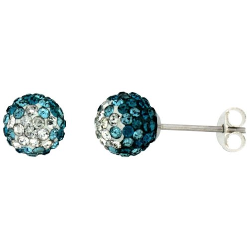 Sterling Silver Crystal Earrings Blue Green