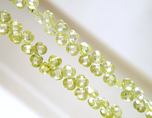 (Peridot Green Cubic Zirconia CZ Faceted Heart Briolette top Drilled 5mm 31 Beads )