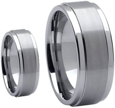 Available Sizes 5-14 Including Half Sizes Mens /& Ladies 8MM//6MM Brushed Center Step Edge Tungsten Carbide Wedding Band Ring Set Please e-mail sizes