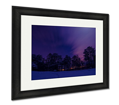 Ashley Framed Prints Night Landscape, Office/Home/Kitchen Decor, Color, 30x35 (frame size), Black Frame, AG6549448