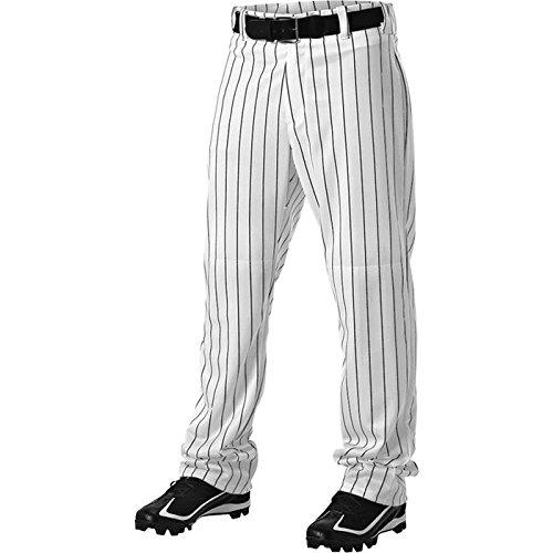 Alleson Athletic Adult Pinstripe Baseball Pant, White/Black, Medium  ()