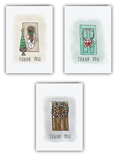 Free Holiday Door Thank You Cards - 24 Cards & Envelopes
