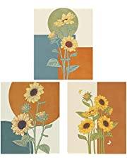 SAJKLD 3 Pcs Sunflower Tapestry Wall Hanging - Flower Wildflower Floral Plant Tapestries for Living Room