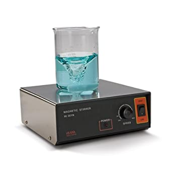 Hanna Instruments HI 301N Stainless Steel Two-Speed Magnetic Stirrer with Speedsafe and Magnetic Stir Bar, 180mm Length x 180mm Width x 70mm Height, 100 - 1000rpm, 115/240 VAC, 0 to 50 Degree C