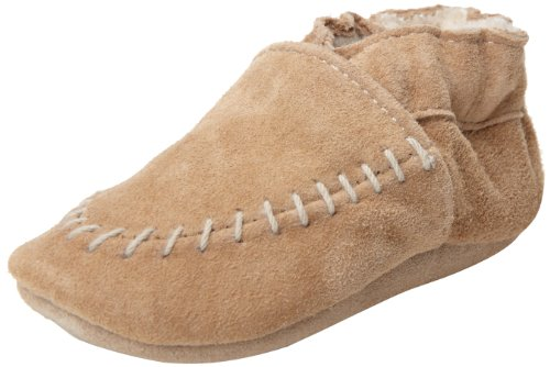Image of Robeez Cozy Moccasin Crib Shoe , Taupe, 12-18 Months M US Infant