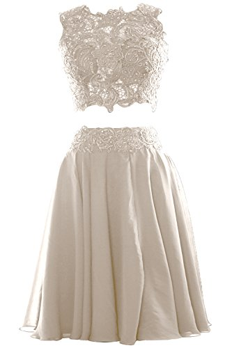 Two Short Ivory Lace Macloth Cocktail Dress Prom Piece Women Gown Formal Chiffon Party gwqX5q
