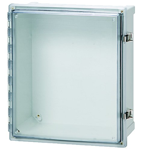 Fibox Enclosures AR10106CHSSLT UL Listed Nema 4X Polycarbonate Enclosure with Hinged Transparent Screw Cover and Stainless Steel Lockable Latch, 6'' Height, 10'' Width, 10'' Length