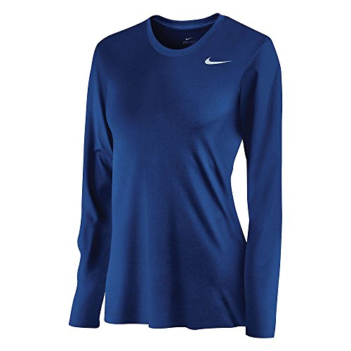 Royal Nike Legend (Nike Womens DriFit Legend Long Sleeve TShirt, Royal, Large)