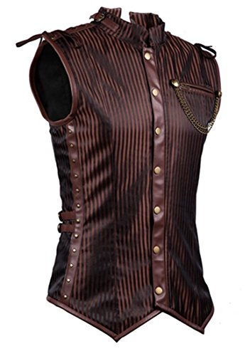 Charmian Men's Spiral Steel Boned Victorian Steampunk Gothic Retro Stripe Waistcoat Vest with Chain Brown Small