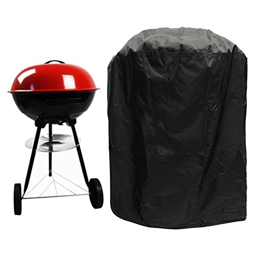 BBQ Grill Cover Waterproof Dustproof Barbecue Oven Protection Cover for Round Gas Charcoal Electric Barbecue Outdoor Garden Patio Barbecue Accessory with Storage Bag