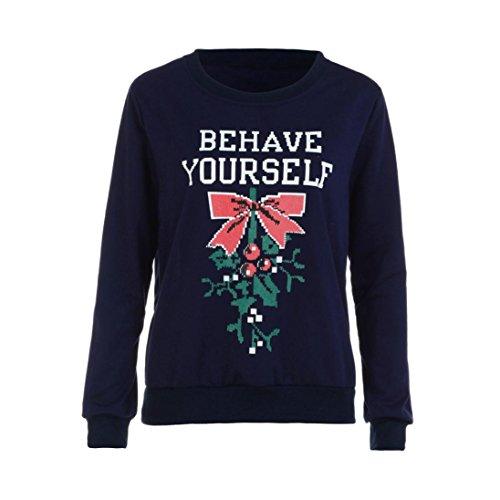 Cheap FORESTIME_women Plus Size Christmas Letters Print Sweatshirt Shirt Blouse Tops