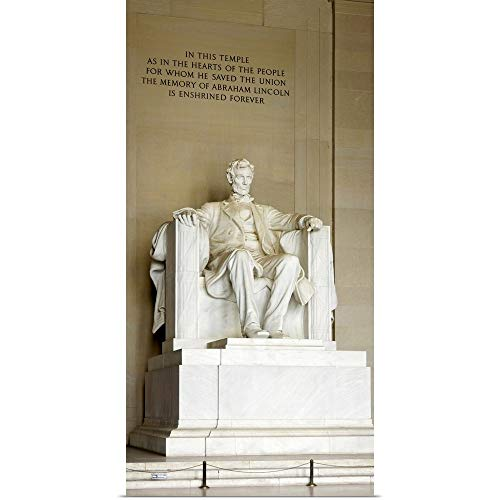 GREATBIGCANVAS Poster Print Entitled Abraham Lincolns Statue in a Memorial, Lincoln Memorial, Washington DC by 15