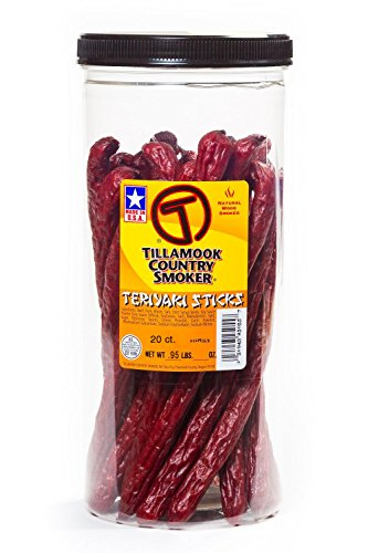 Tillamook Country Smoker - TERIYAKI BEEF STICK 20-Count .95 LBS-1 LBS Beef Jerky Meat Snack Camping Hiking