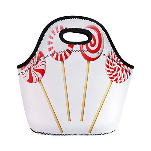 Semtomn Neoprene Lunch Tote Bag Christmas Candy on Wooden Stick Striped Peppermint Lollipops Reusable Cooler Bags Insulated Thermal Picnic Handbag for -