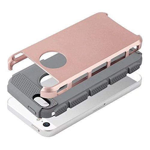 iPhone 5 hülle,iPhone 5S hülle,iPhone SE hülle,Lantier Bunte Mode Series 2 in 1 Dual Layer Hybrid Fest Stoß Abdeckung für Apple iPhone 5 5S SE Rosa + Grau