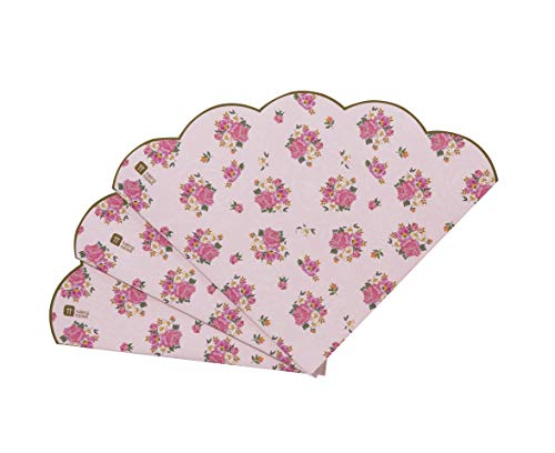 Talking Tables Tea Party Scalloped Floral Paper Napkins | Truly Scrumptious | Also Great For Birthday Party, Baby Shower, Wedding And Anniversary | Pink, 20 Pack