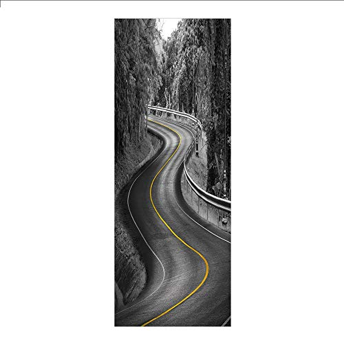 3D Decorative Film Privacy Window Film No Glue,Black and White Decorations,Curvy Asphalt Road with Yellow Line Nature Forest Trees Decorative,Charcoal Grey Mustard,for Home&Office ()