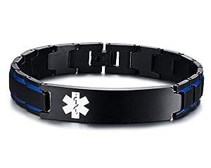 XUANPAI Free Custom Engraving Adjustable Stainless Steel Brushed Medical Alert ID Bracelet for Men Women