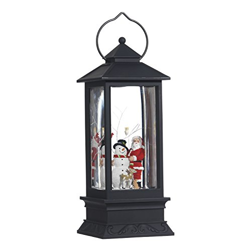 Lighted Snow Globe Lantern: 11 Inch, Black Holiday Water Lantern by RAZ Imports (Santa and Snowman) -