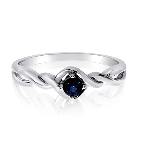 0.10 Carat (ctw) 14k White Gold Round Blue Sapphire Solitaire Twisted Infinity Swirl Promise Fashion Ring (3 x 3 MM) - Size 7