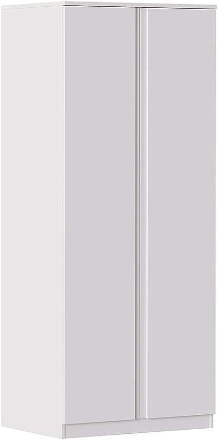 80x55,5xh190,5 cm MIK Traditional Guardaroba Soggiorno Camera da letto Bianco Armadio a 2 ante con maniglia