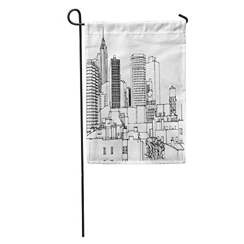 RS-pthr Garden Flag Scene Street Ink Line Sketch New York City Buildings Windows Home Yard House Decor Barnner Outdoor Stand 12x18 Inches -