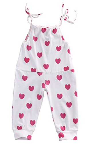 Baby Girl Cotton Red Heart Print Bodysuit Romper Leggings Outfits Summer Sunsuit Clothes (0-6months, white)