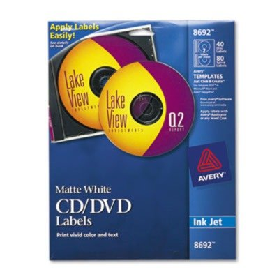 AVE8692 UNITED STATIONERS (OP) LABEL,IJ CD/DVD (Wht Cd / Dvd)