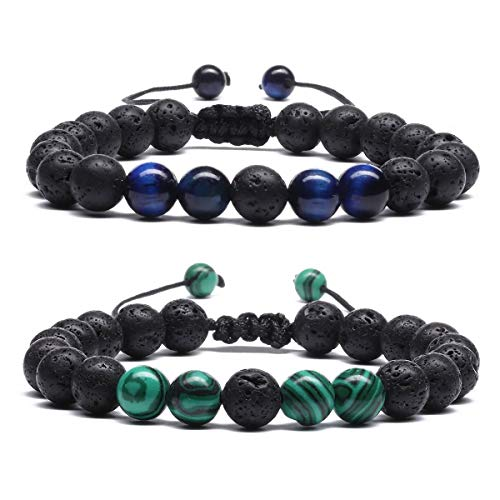 8mm Beaded Lava Stone Rock Diffuser Bracelet for Women Men Braided Rope Natural Bangle Malachite E034EF