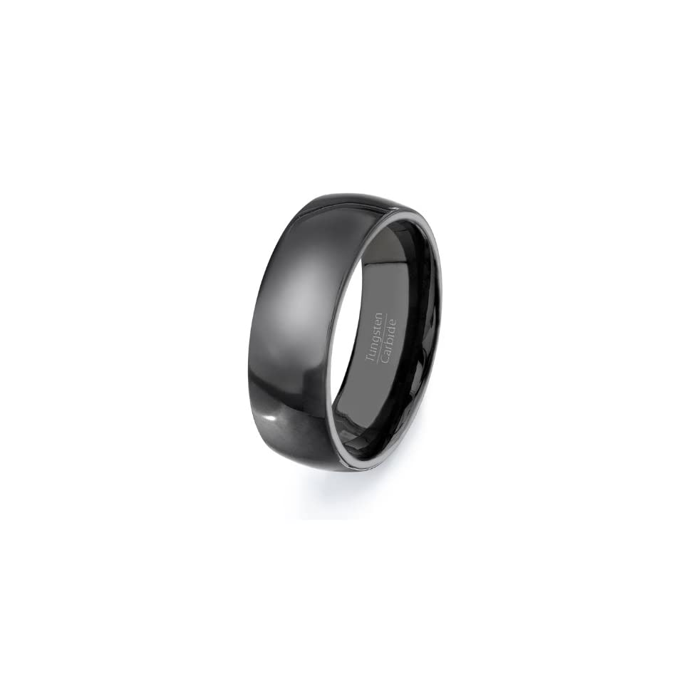 Tungsten Carbide Classic Black Mens Wedding Band Ring Size 8, 9, 10, 11, 12, 13 Clothing