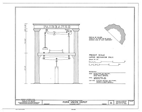 (Historic Pictoric Structural Drawing Detail of Freight Scale - Fork Union Depot, State Route 6, Cohasset, Fluvanna County, VA 55in x 44in)