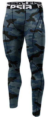 TM-P16-CBKZ_Medium Tesla Men's Compression Leggings Baselayer Cool Dry Sports Tights Pants P16