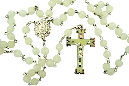 (Glow in the Dark! Luminous Rosebud Rosary. White Material: Moulded 8 Mm Bead Size: 22 1⁄2