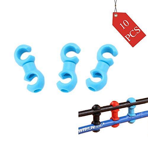 YESON Bike Cable Clips Plastic Bicycle Rotating S-Hook Clips,Bicycle Housing Tidy Wire Buckle Cycling Shift Cable Brake Gear Cable Housing Fixing Holder Guide MTB,10 pcs,Blue